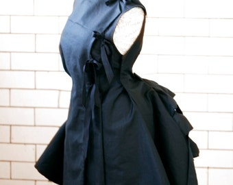 Pitch Black Steampunk style apron dress, lab coat, or fencing jacket