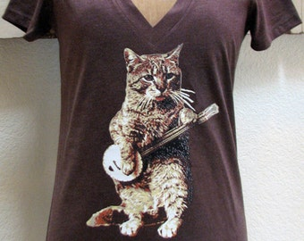 cat shirt - womens tshirts - banjo shirt - cat tshirt - music shirt - music gifts - music tshirt - guitar shirt - BANJO CAT - deep vneck