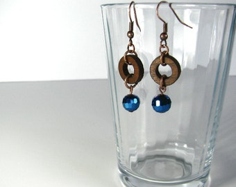 Wooden ring with blue bead hook earrings