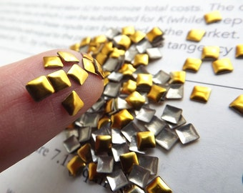 GOLD 3mm SQUARE Metal Studs 100 Pieces Nail Rhinestuds Hotfix