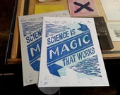Kurt Vonnegut - Science is Magic that Works - 2 Color Letterpress Print - GREY ONLY - Cat's Cradle