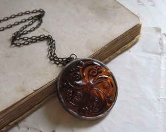 Stained Glass Jewel Necklace Brown Coffee