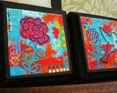 Colorful Art with Flowers and Bird, Whimsical Art Print Set on Woodblock, Plaque, Orange, Black, Blue, Magenta, 5x5