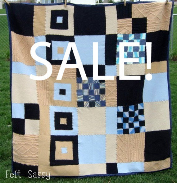 SALE - Blanket - Recycled Wool Sweaters - Sea and Sand - by FeltSassy