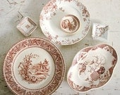 SALE - Antique Brown Transferware Collection / Aesthetic Movement / English