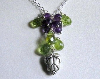 Grape Bunch Necklace- Silver, Peridot, Amethyst, Cluster Design