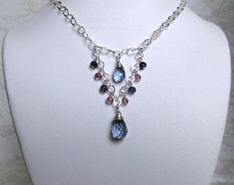 Mystic Quartz Necklace- Pink Topaz, Iolite, Silver