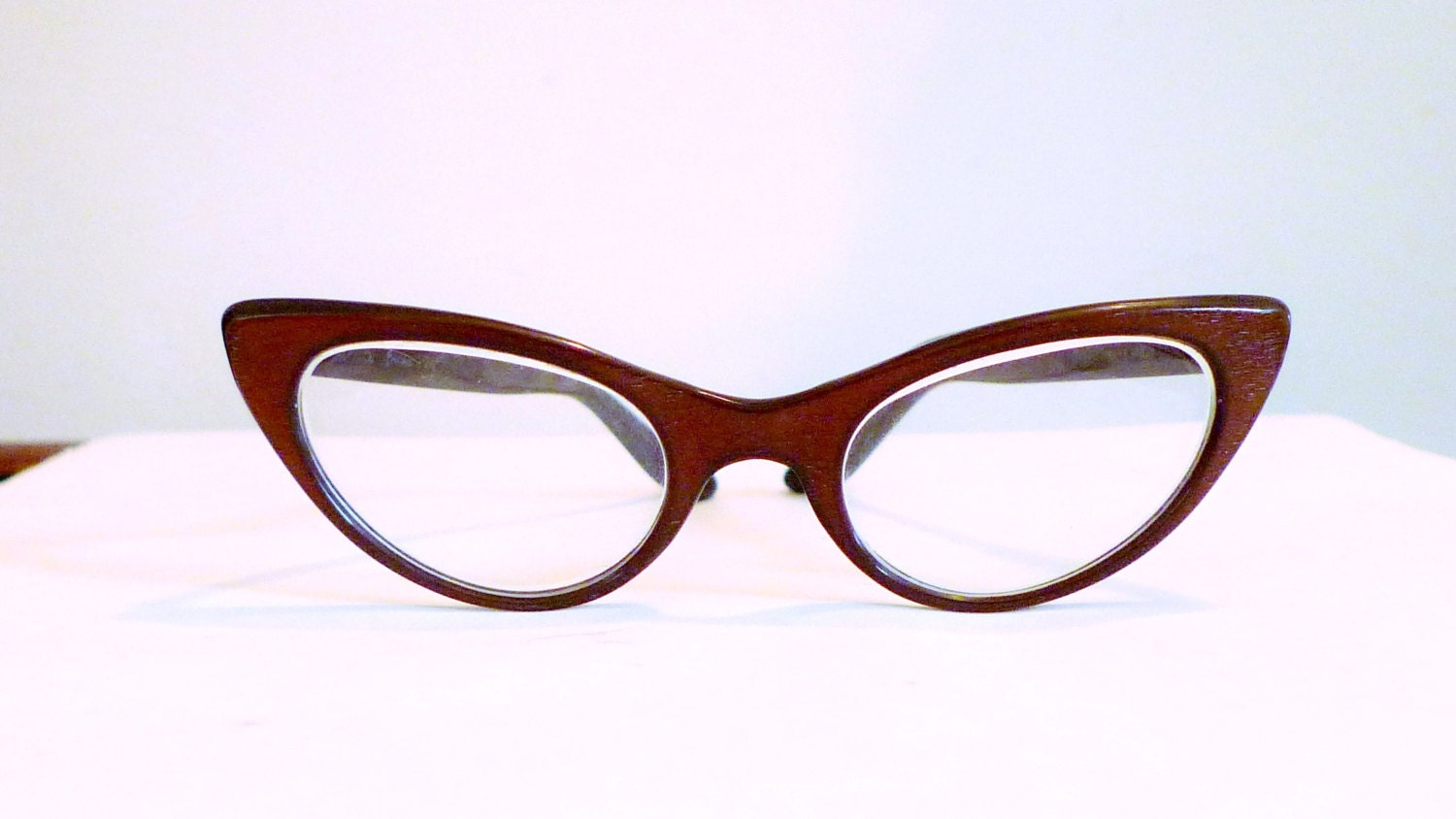 Cat Eyeglass Frames : SALE Safilo Winged Brown Cat Eye Glasses / Frame by ...