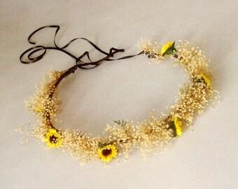 Sunflower halo rustic Bridal hair wreath -Sunny- accessory Wedding dried flower crown Babys breath mini sunflowers Summer Woodland headpiece