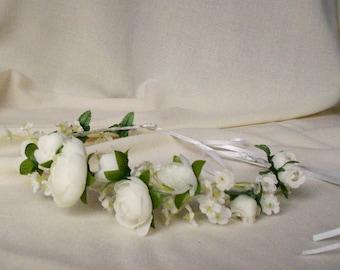 White Flower Crown little girl halo Bridal Wedding Accessories headband silk floral First Communion Hair Wreath ranunculus garland circlet
