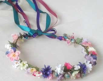 Tie-Dye colors 70s style Hippie Costume Headband party accessories music festival Flower Crown hairpiece Boho halo hair wreath Wedding bells