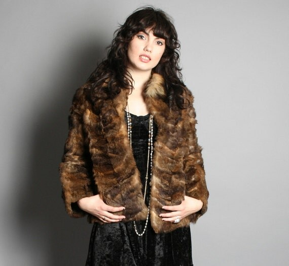 Sale...70s FUR COAT / Ultra Soft & Shaggy Real Feathered Fur Jacket, s-m