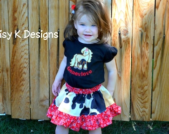 Cowgirl Skirt and Personalized Horse Shirt Outfit For Toddler Girls - Sizes 2T, 3T and 4T