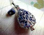 Medaillon - Lapis tropfenförmige Medaillon Sorge / Medaillon Halskette Silber Medaillon / Lapis Halskette / floating Medaillon / Speicher Medaillon /living Medaillon