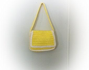 Vintage Sunshine Yellow Raffia Purse