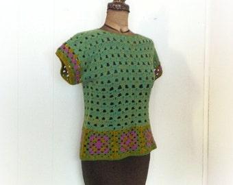 Vintage 1970s Knit Blouse Boho Peacock Colors
