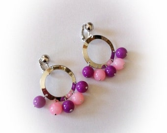 Vintage Sarah Coventry Earrings Silver Tone Hoops Earrings with Purple and Pink Plastic Beads