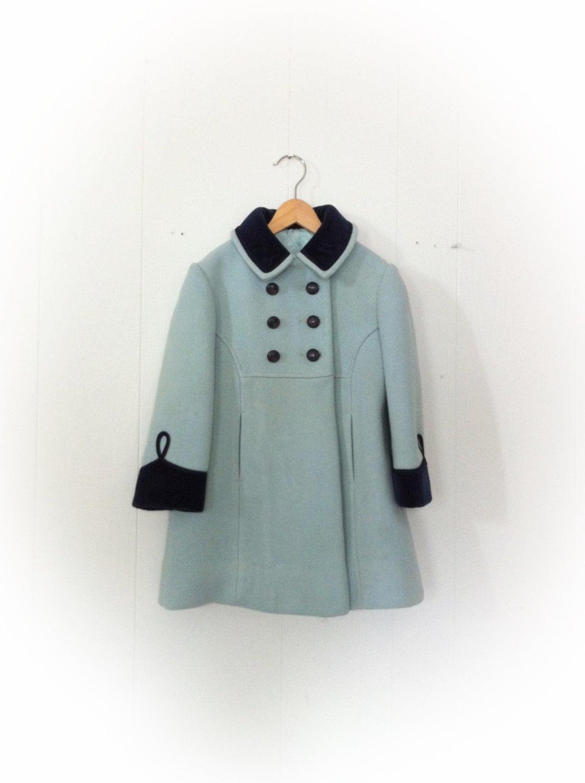 Vintage 1960s Girl Childs Coat Rothschild Of Philadelphia Aqua