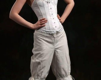 UK 10 US 6 long white cotton bloomers  steampunk pantaloons victorian edwardian morigirl mori girl lagenlook knickers lolita