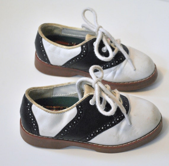 Vintage Toddler Saddle Shoes Kids Black and White Lace Up