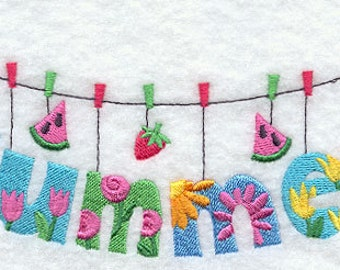 Summer Clothesline Embroidered Terry Kitchen Towel Bathroom Hand Towel