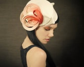Ombre Tangerine Pink and Cream Felt Hat - Aquatic Series - Made to Order
