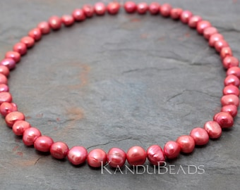 """Coral Pink Potato Fresh Water Pearl 8-10mm 14"""""""