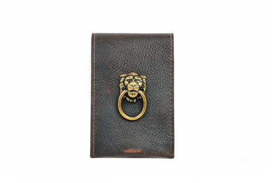 Lion Leather Wallet and iPhone Case - Smartphone Case and Card Wallet with Lion Door Knocker