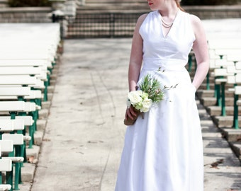 "V-neck Vintage Inspired Wedding Gown ""Emma"", long white wedding dress with pockets and pleats, couture white bridal gown, CUSTOM MADE style"
