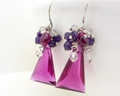 Bright pink earrings with purple, Sterling silver, Hot pink quartz earrings, Quartz and Amethyst gemstone cluster earrings