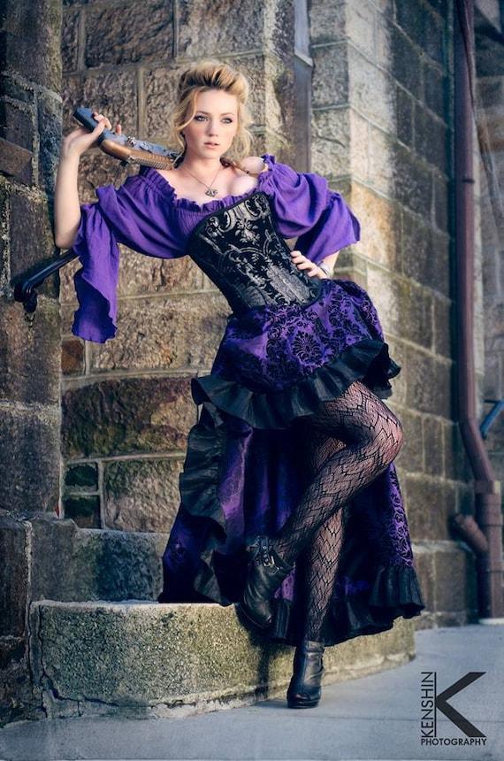 Lila Steampunk Outfit Korsett Lila Bluse Lila Und Schwarz