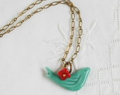 Bluebird NECKLACE Red FlowerSpringtime Long Pendant Petite Bird Charm Floral Red & Teal