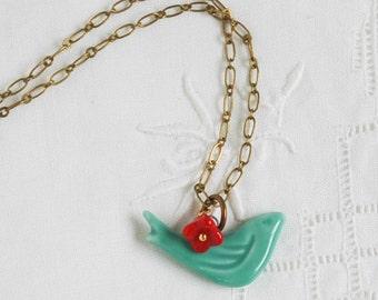 Bluebird NECKLACE Red FlowerSpringtime Long Pendant Petite Bird Charm Floral Red & Teal