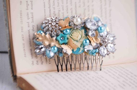 Something Blue HAIR COMB Bridal Wedding Vintage Jewels Turquoise Wedding Vintage Wedding Bride