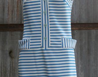 60s Shift Dress - Sporty Stripe Casual Dress - 1960s Vintage Dress - Blue Stripe Sleeveless - Easy Wear Easy Care - 34 35  Bust