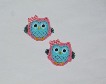 "Owl  Felt Clippies ""Pink Berries""    ---READY TO SHIP---"