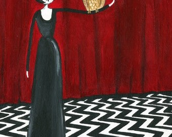 Twin Peaks // black lodge art print // the owls are not what they seem