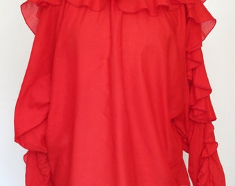 ROSE // red ruffled off the shoulder 1970s or 80s blouse S / M