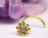 """Nose Screw  """"Parisian Fleur"""" - 18kt  SOLID yellow & white Gold with a 1.5mm Fine White Diamond, OOAK"""