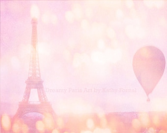 Paris Photography, Dreamy Pink Eiffel Tower, Eiffel Tower Pink Balloons Print, Baby Girl Nursery Room Decor, Paris Pink Girls Room Decor Art