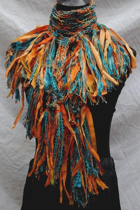 Terra Cotta & Teal Silk Bamboo Handmade Crochet Scarf