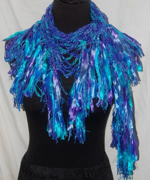 Turquoise & Purple Silk Handmade Crochet Scarf