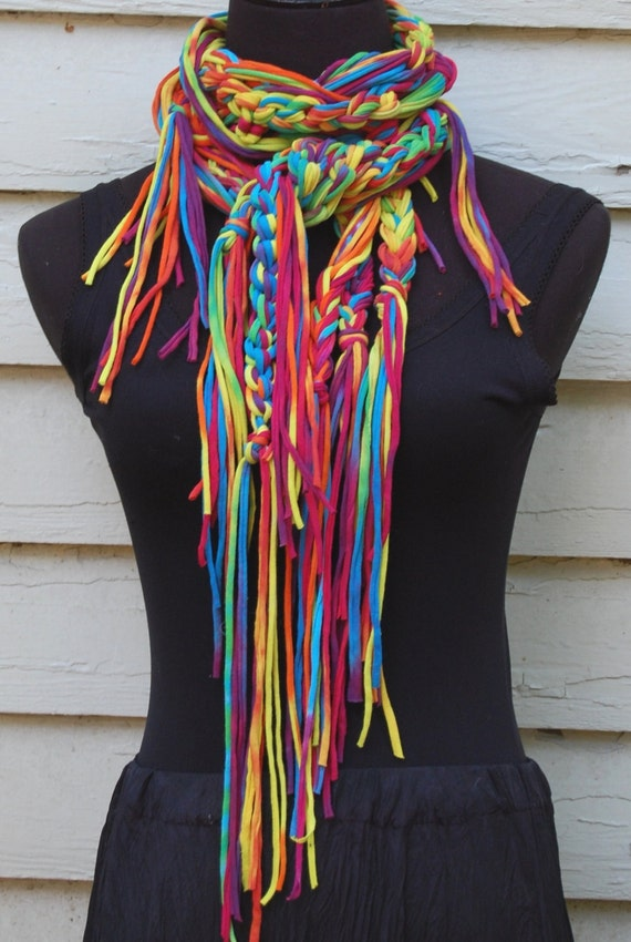 Tie Dyed Rainbow Multi Color Cotton Upcycled T-Shirt  Handmade Crochet Scarf