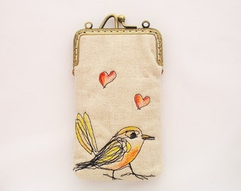 iPhone Case iPhone sleeve gadget case/Glasses Case -- Free Motion Embroidery Heart bird ( iPhone 7, iPhone 7 Plus, Samsung Galaxy S7 etc. )