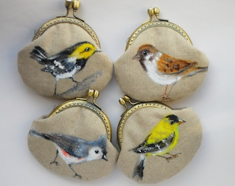 Bird Hand painted Vintage Purse (wedding gifts bridesmaids gifts)