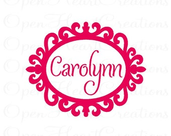 Baby Name Wall Decal - Oval Frame Shabby Chic Vinyl Decals - Personalized Wall Lettering for Girl or Boy 22h X 28w FN0274
