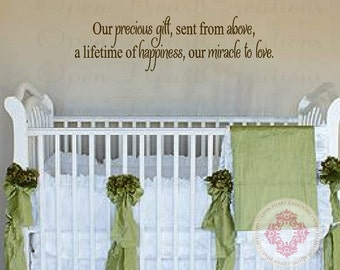 "Baby Quote Wall Decals - Our Precious Gift Sent From Above Vinyl Wall Saying for Baby Nursery Wall Lettering Decor 10""H X 36""W Ba0385"