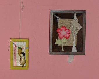 But Grow.......mixed media fabric assemblage....Bible scripture wall decor