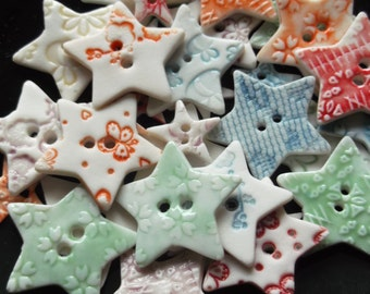 Star Buttons - Ceramic Button UK - Handmade Buttons - Scrapbooking Buttons - Buttons for Sewing - Buttons for knitwear - Unique Button Craft