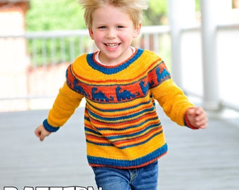 make your own Diplodocus Sweater (DIGITAL KNITTING PATTERN) Infant Toddler Child